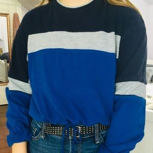 Blue color blocked long sleeve
